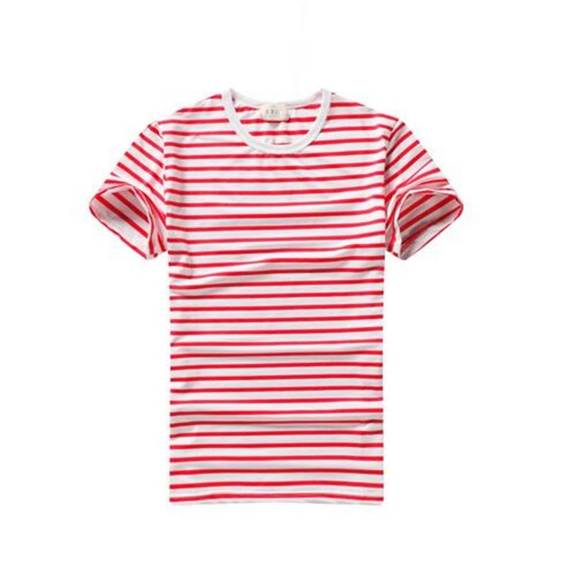 紅色男裝 條紋修身短袖T 恤打底衫