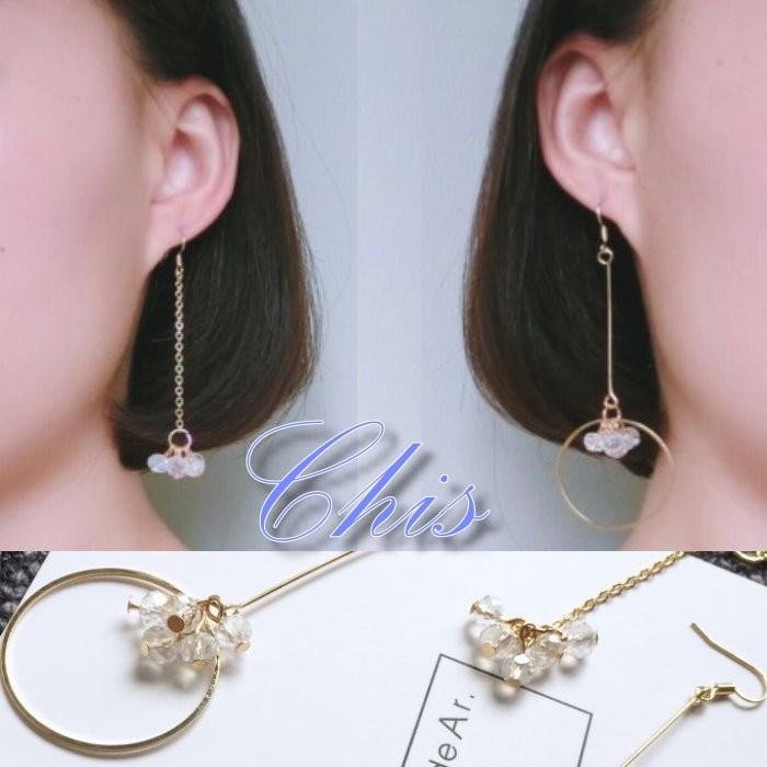 Chis Store ~圓形水晶花朵垂墜耳環~韓國金屬鏤空圓圈圈佐透明冰塊小花感不對稱無耳
