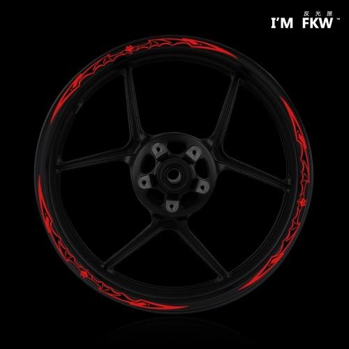 ~反光屋FKW ~3M 反光輪框貼紙蝙蝠12 吋17 吋高亮度防水耐曬機車改裝 蝙蝠紅黑