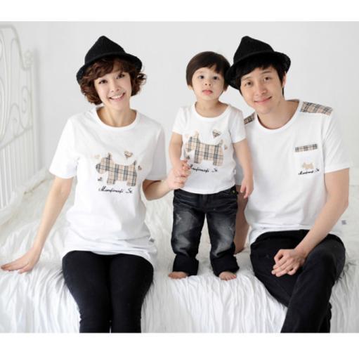廠商斷貨 賠售英倫風格子小狗純棉短袖t 恤( )親子裝母子裝家庭裝 情侶裝(大樹與小花親子