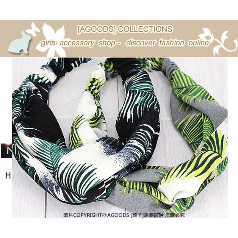好清爽 面料夏威夷夏日熱帶葉子叢林渡假特殊印花交叉扭結髮帶髮箍4 款