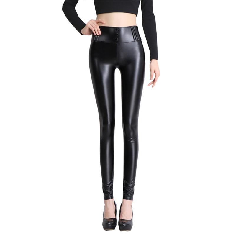 顯瘦皮褲女外穿薄打底褲 高腰黑色小腳褲彈力緊身褲子豎扣款