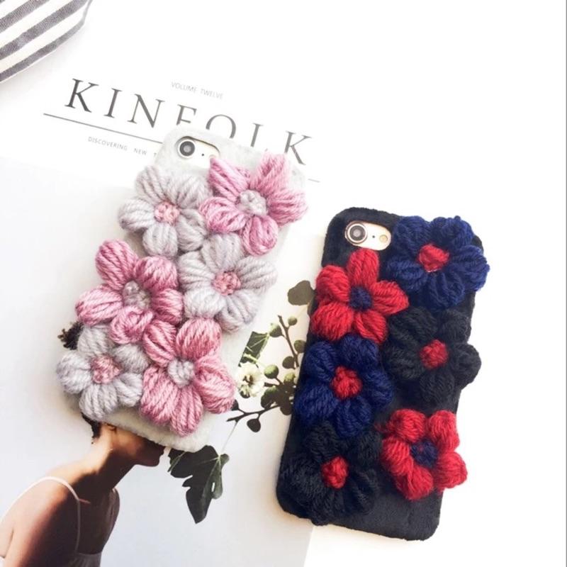 立體毛線花朵iphone 手機殼