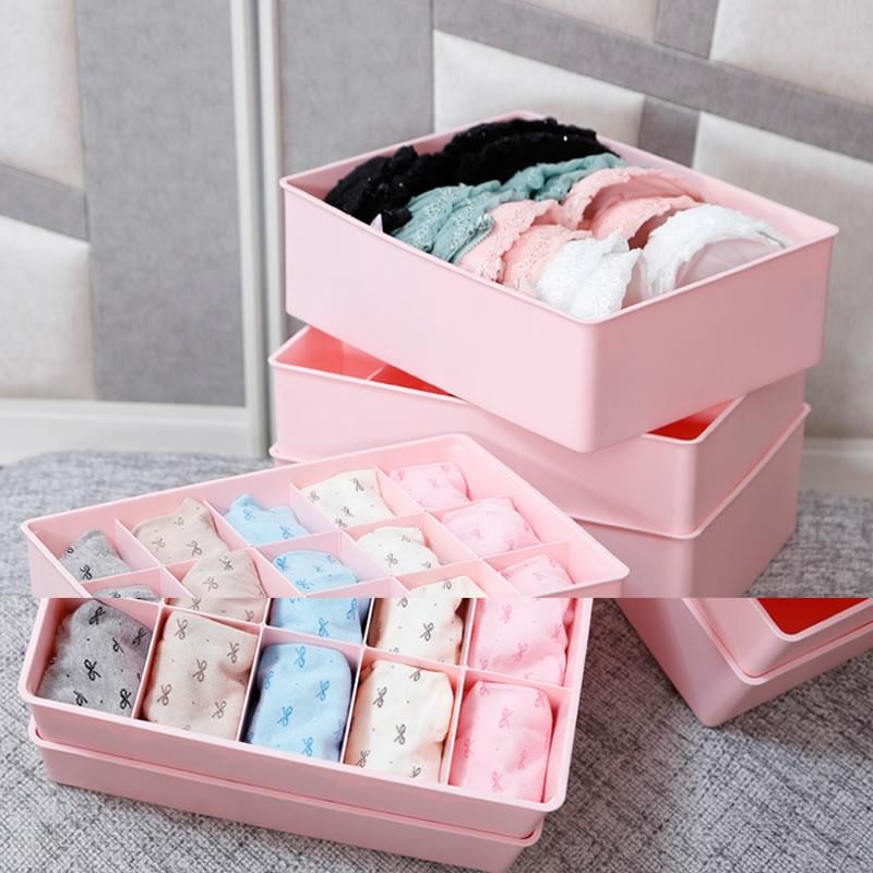 三件套内衣收納盒韓式內衣內褲襪子分隔收納盒抽屜有蓋多格收納盒內衣盒內褲襪子文胸收納盒