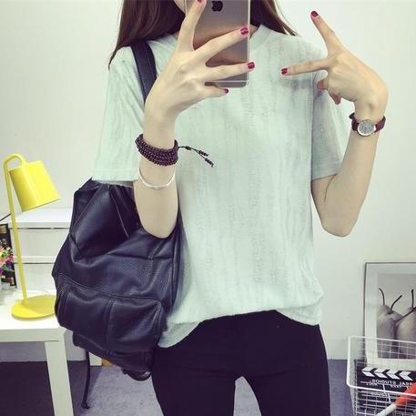 ~預售~ 價▲CC 短袖上衣▲2017  做舊破洞純色T 恤女短袖寬松圓領套頭 簡約打底衫