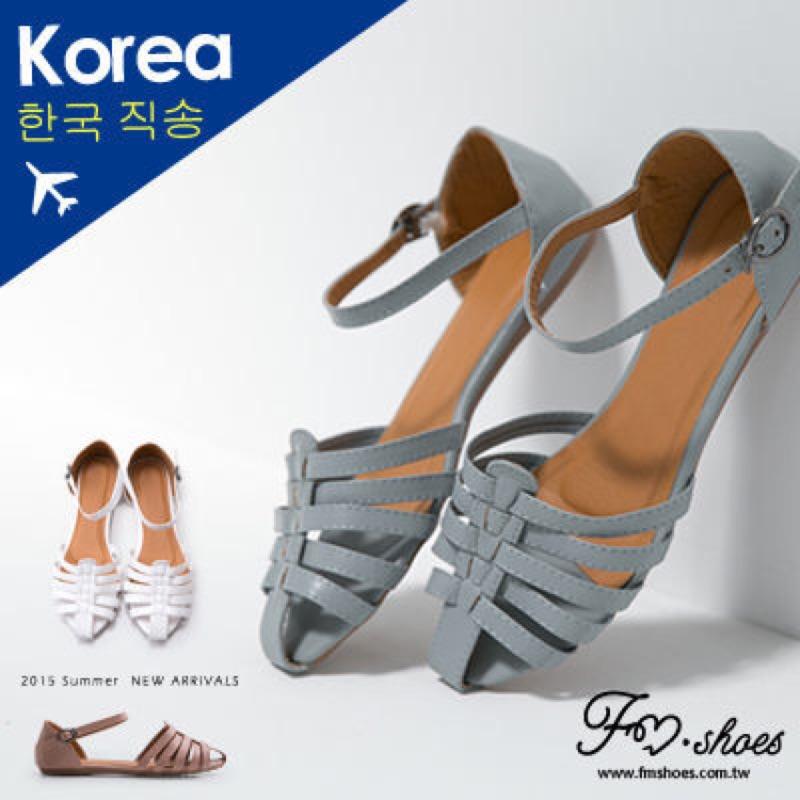 轉FM 美鞋韓國羅馬平底繫帶涼鞋粉色24 號