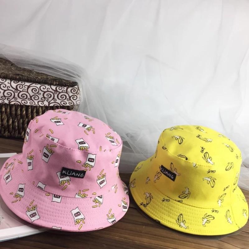 漁夫帽雙面可戴可愛滿版印花圖案薯條香蕉起司蘿蔔