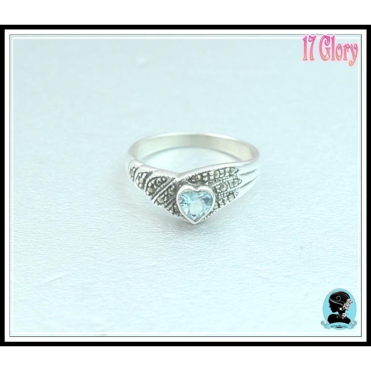 古典美人心型天然水藍色托帕石vs 馬克賽礦石古典925 純銀戒指  款穿搭  ✽17 Gl