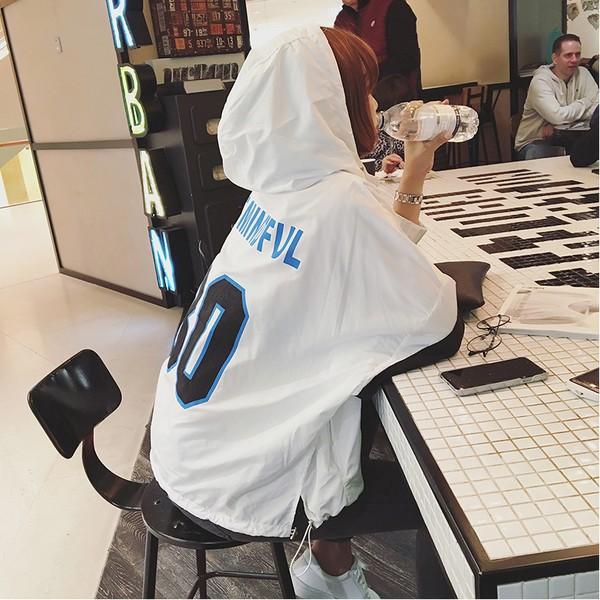 2016 韓國字母條紋拼接連帽薄款舒適透氣風衣外套女 寬松防曬衣