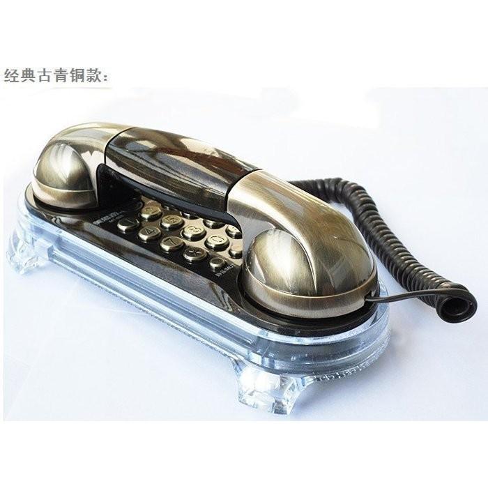 歐式 復古電話機精美 復古壁掛座機 發光邊圈復古電話機古董 電話器古銅色