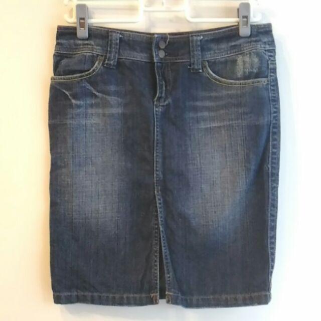 製Bestlip 牛仔蕾絲開岔及膝窄裙復古風刷白25 號