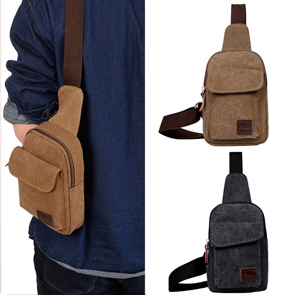 男性帆布包側背包後背包單肩包男包 包背包休閒包潮包,可調節帶和耳機孔