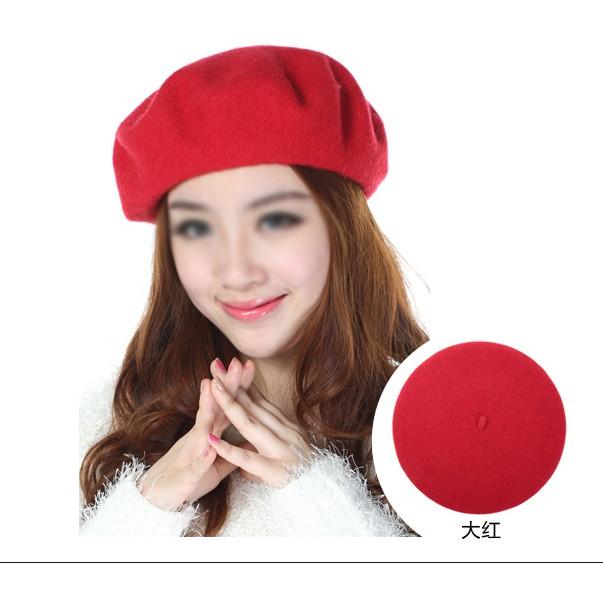 毛帽~6521 ~ 毛帽韓系復古簡約 氣質百搭純色高 毛呢貝雷帽畫家帽