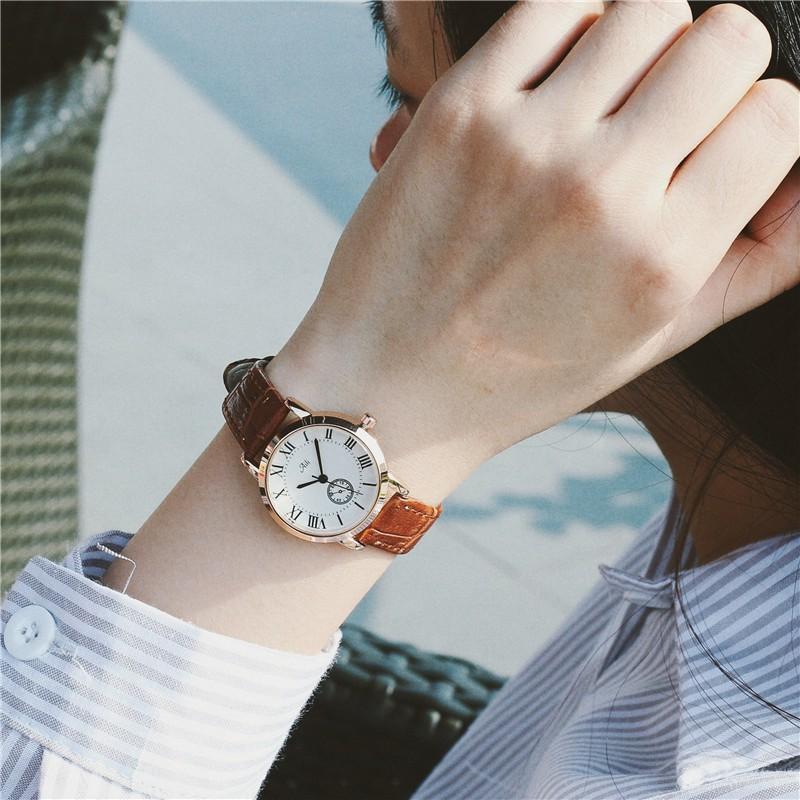 韓國女士手錶防水 款女生學生文藝復古真皮小巧精緻薄 簡約