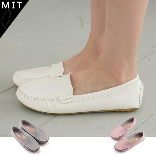 Mrs 女款簡約素面包覆抓皺 舒適平底鞋包鞋