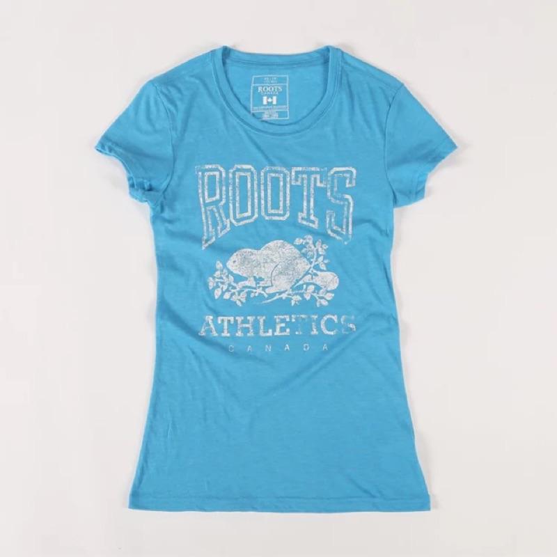 加拿大 正品roots 雪花棉薄款復古印花海狸女款圓領短袖T 恤藍色