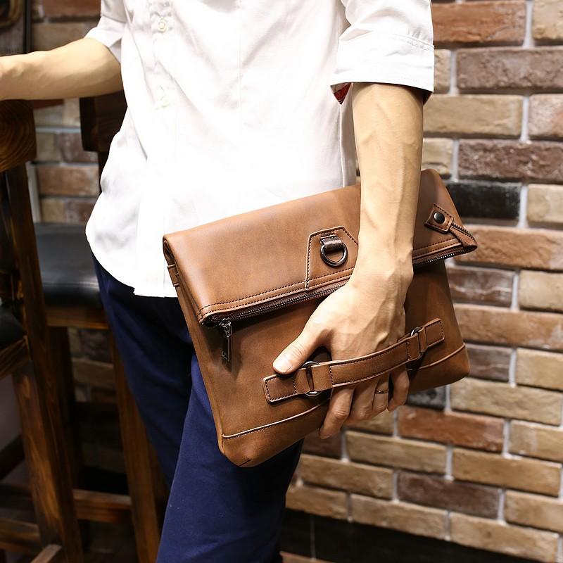 超好手感 男士手拿包瘋馬皮手包商務休閒軟大容量休閒夾包信封