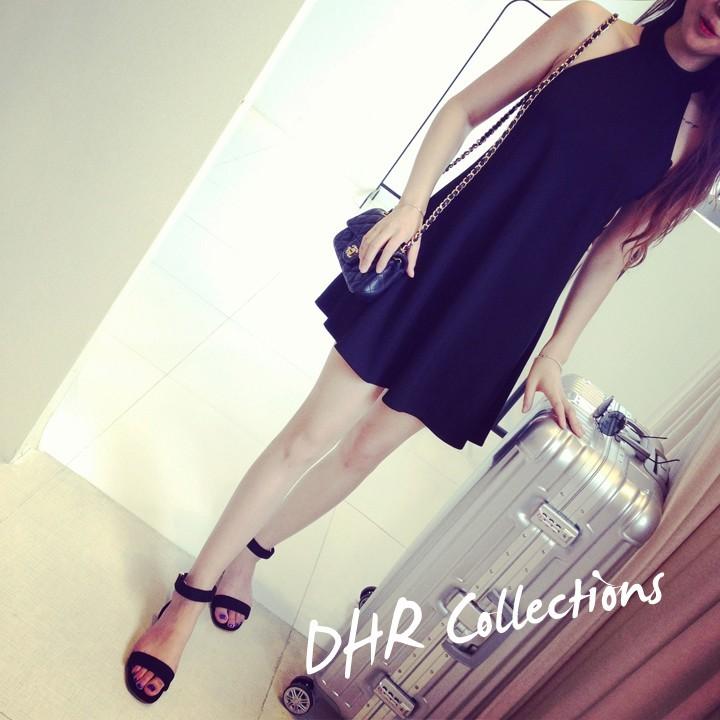 女裝 修身氣質掛脖露肩性感小黑裙連衣裙背心裙寬褲褲裙長洋裝背心吊帶裙襯衫套裝長版連身裙罩衫