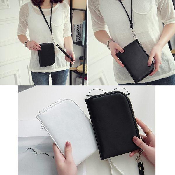 手拿掛頸兩用包手機包掛脖手機袋皮夾卡片夾錢包零錢包手拿包~RB412 ~