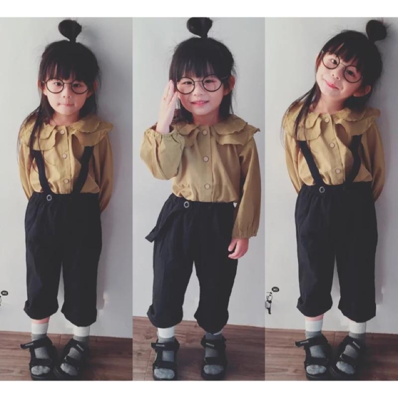 女童女寶兒童寶寶雙層荷葉翻領襯衫上衣吊帶褲長褲ins 同款