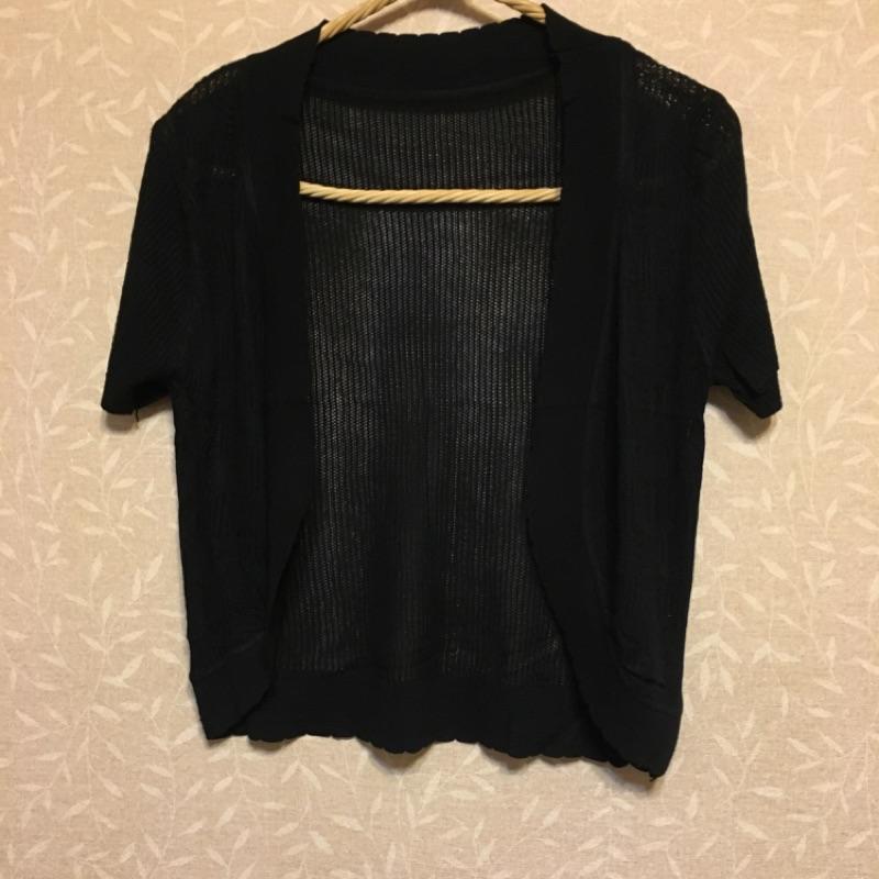 針織加大版黑色純色簡約百搭夏天 外套