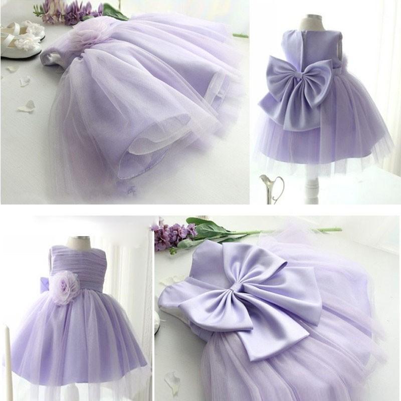 夏裝花童禮服兒童婚紗女童紫色公主裙六一演出裙連衣裙蓬蓬裙