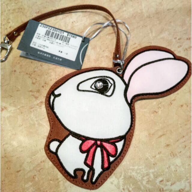 專櫃品牌Zodence 英國防刮牛皮大眼搞怪兔 鏡子吊飾包包掛飾真皮鑰匙圈