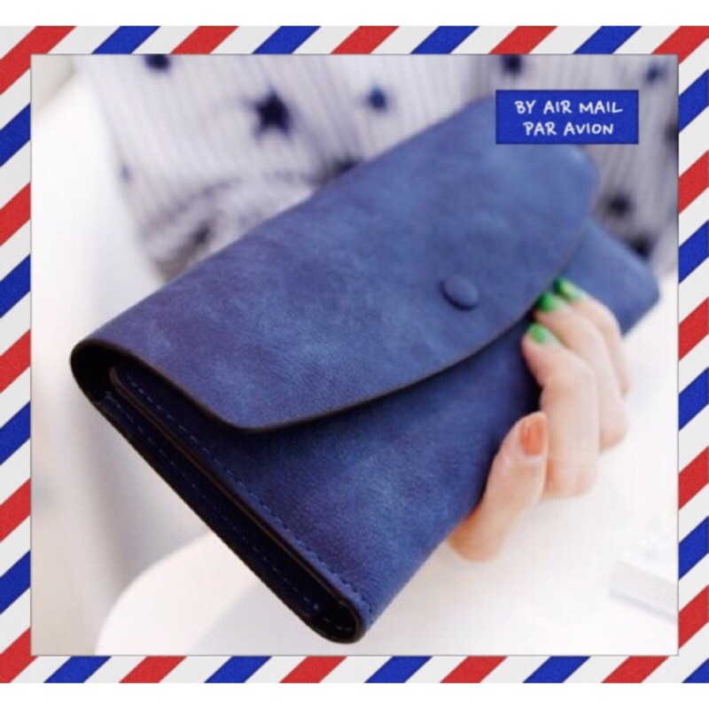 ~F U ~韓國連線 復古圓弧純色磨砂皮抽卡錢包零錢包皮夾長夾非中夾短夾手機包BKK 包包