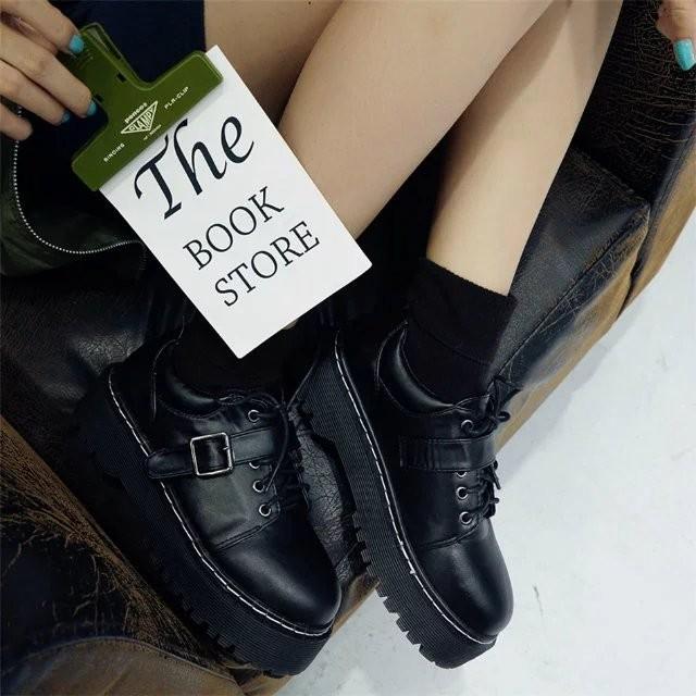 潮百搭小皮鞋女學生復古英倫風女鞋厚底松糕鞋【SJ0006 】AJSHOP