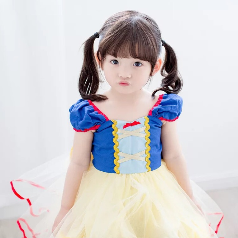 女童表演服裝白雪公主裙 生日派對晚禮服裙子兒童演出蓬蓬紗裙