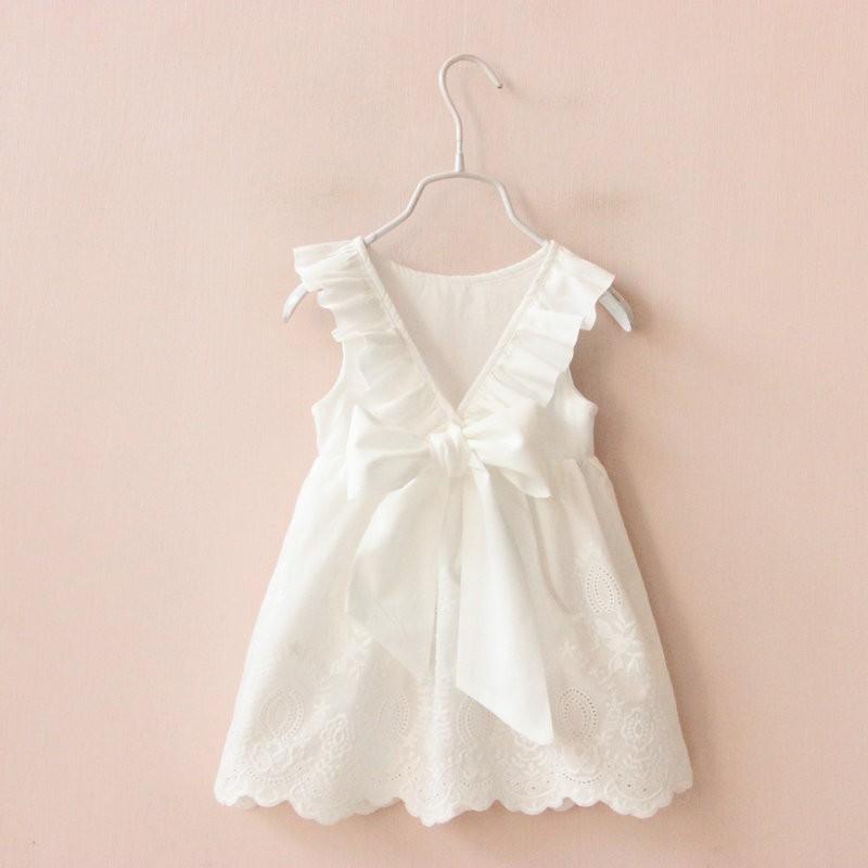 C2153 女童純白背心裙V 字露背蝴蝶結背心連衣裙娃娃衣MAMA 咪呀 衣鋪