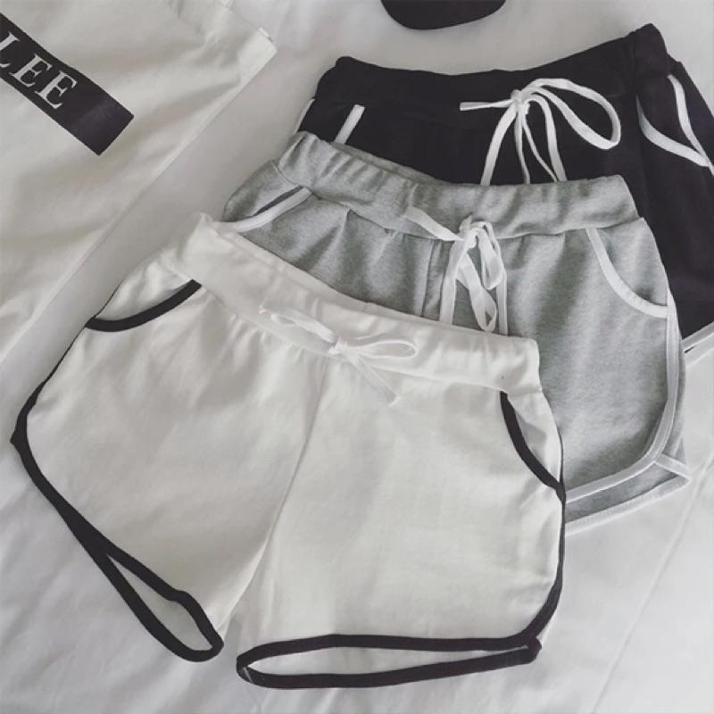 女 短褲寬鬆鬆緊休閒腰繫帶熱褲跑步褲