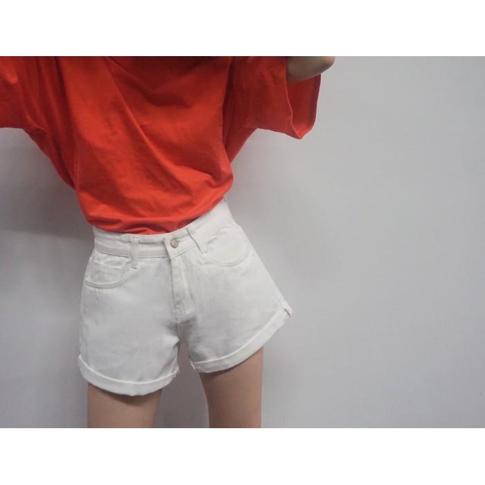 新品高腰牛仔短褲女生夏裝寬鬆純色牛仔褲學生捲邊闊腿牛仔褲熱褲