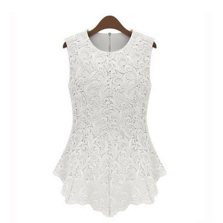 女子花鉤針蕾絲時髦無袖上衣白色黑色M L XL