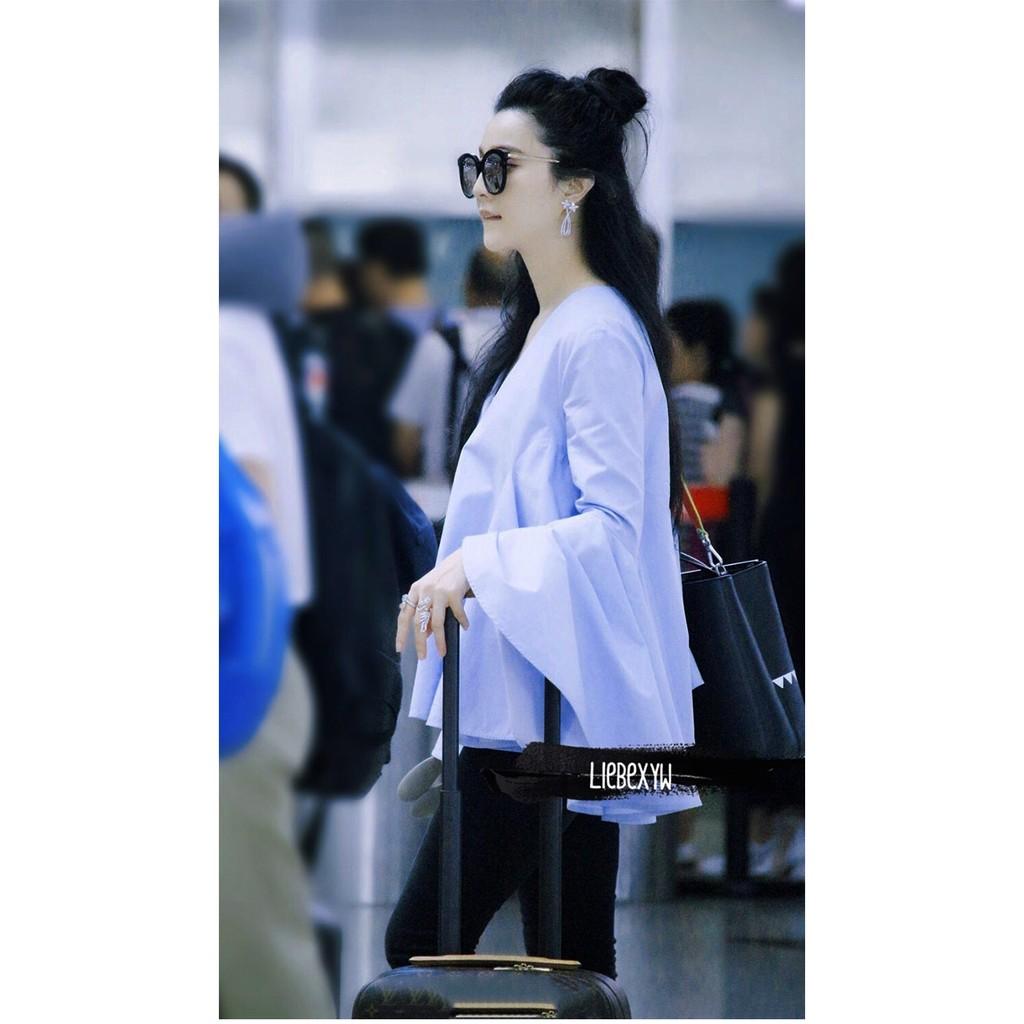 ❤ 實拍❤2017 韓國V 領白色大喇叭袖襯衫寬松娃娃衫長袖藍色上衣正韓上衣寬鬆上衣正韓短