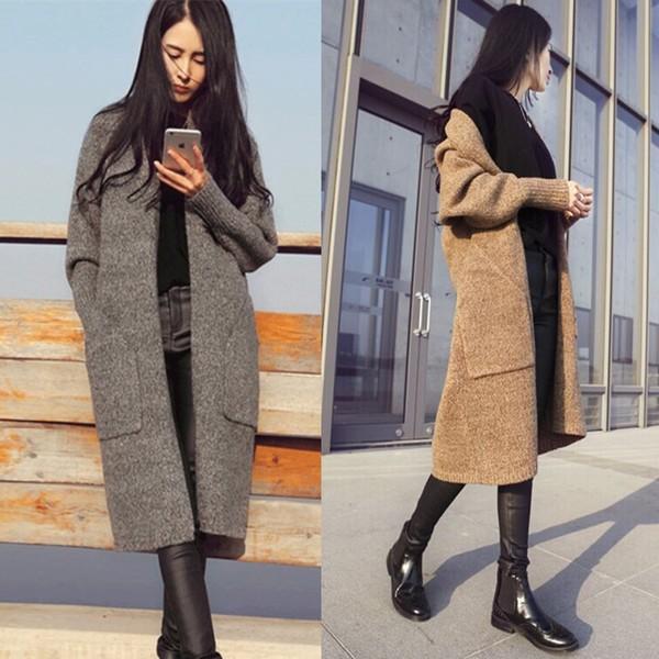 0063 秋裝  女裝針織衫毛衣中長款複古百搭口袋外套