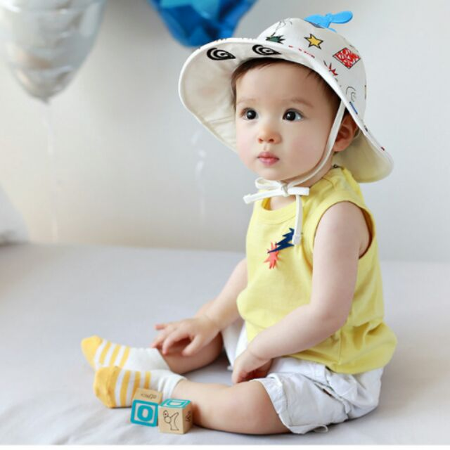 韓國男女孩童寶寶純棉全棉小飛機塗鴉防曬盆帽漁夫帽 帽遮陽帽