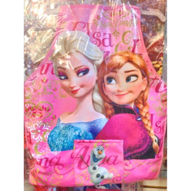 冰雪奇緣迪士尼公主米妮兒童雙層防水小童圍裙袖套吃飯衣畫畫衣n