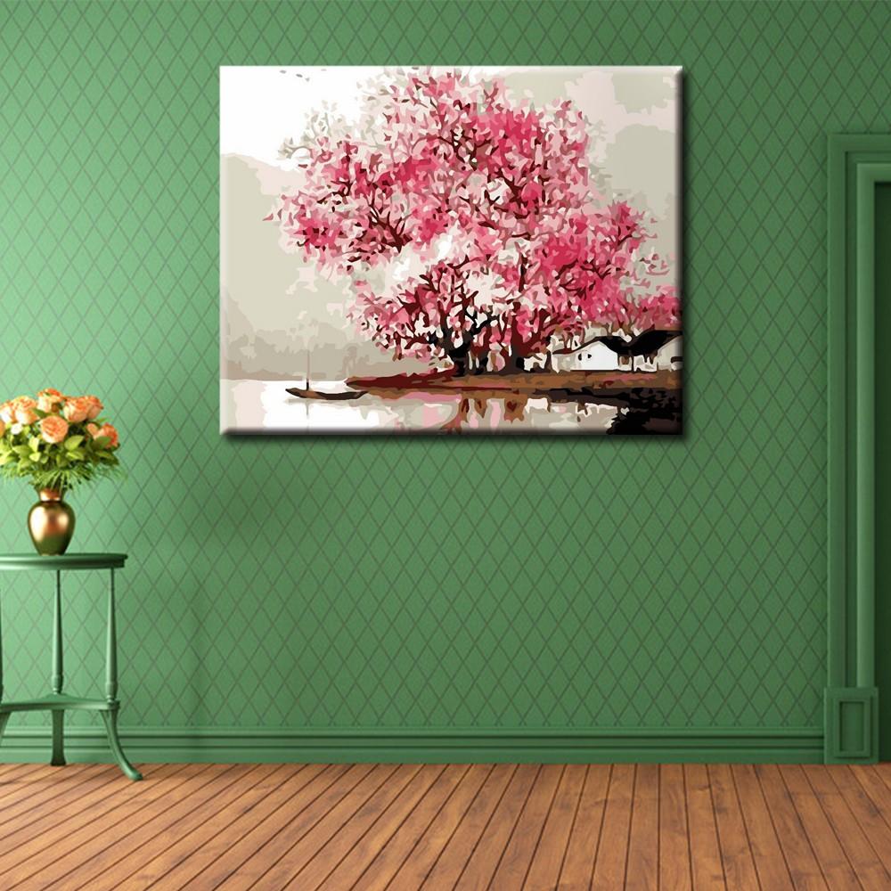 DIY 數字油畫客廳墻壁裝飾江南煙雨風景油畫手繪填色裝飾畫不含邊框