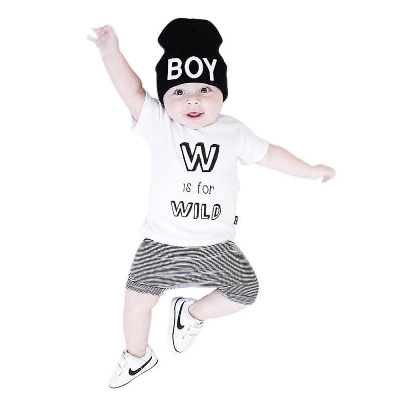 新寶寶夏天可愛嬰兒蹣跚學步兒童男孩女孩字母打印短袖上衣條紋褲子2 件套裝