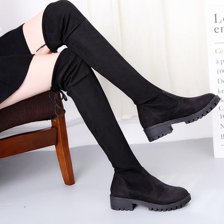 ~風雅軒~2016  女靴子圓頭中跟彈力靴騎士靴套筒瘦腿長靴黑色過膝靴
