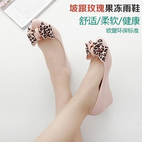 ~ ~韓國 淺口雨鞋女坡跟涼鞋單鞋蝴蝶結豹紋果凍鞋防滑低幫鞋