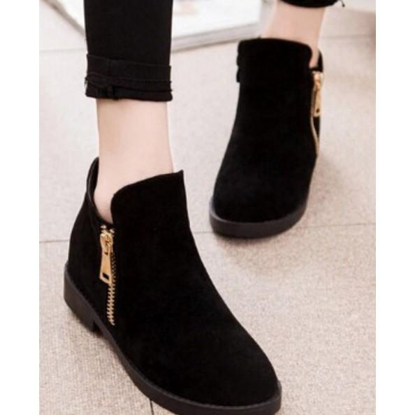 502 033 短靴女磨砂馬丁靴圓頭平底靴子內增高騎士女靴休閒單靴棉黑色37