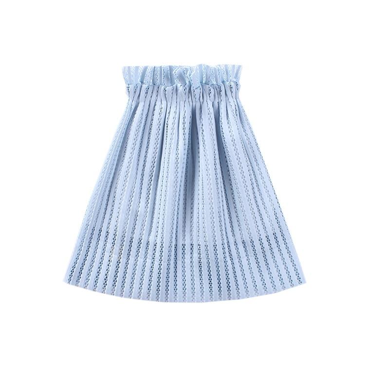 春款定制湖水藍鏤空韓系高腰露肩清新潮款小洋裝半身裙長裙7 碼一件身高90cm