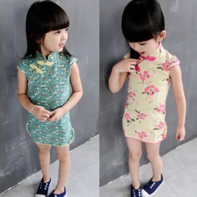 兒童過年中國風氣質合身短袖長袖旗袍連身裙女童拜年