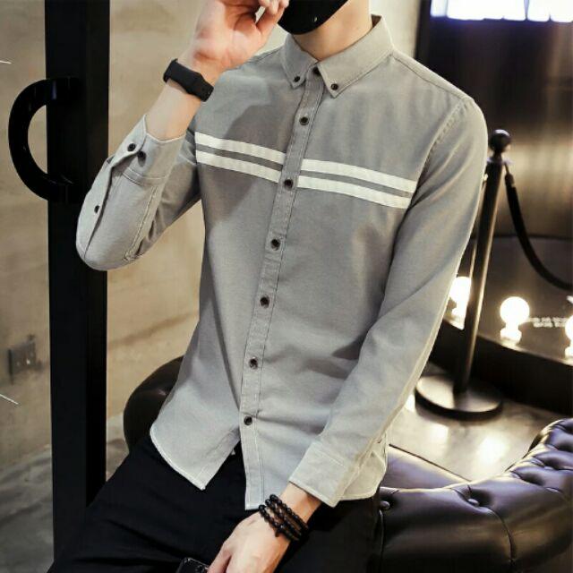 男士襯衫男長袖休閒 襯衣氣秋裝男生襯衣男裝衣服潮流