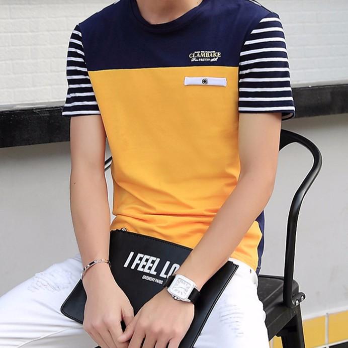 實拍 春 男士短袖T 恤男圓領 修身條紋撞色日系潮牌半袖潮流男裝