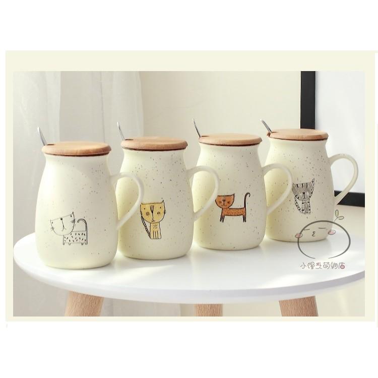 陶瓷杯杯蓋湯匙1 卡通陶瓷大肚杯馬克杯兒童牛奶杯麥片咖啡杯情侶 杯子