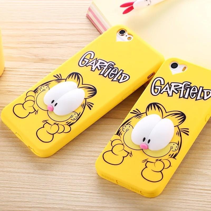 蘋果iphone6 加菲貓手機殼6s plus 手機套立體卡通保護套5s 硅膠夜光