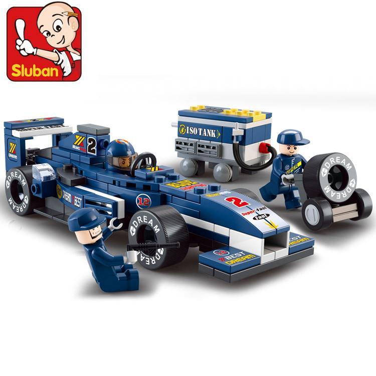 ~杰元 館~0351 小魯班1 32 F1 藍光賽車換輪胎車F1 系列兒童益智拼裝積木非樂